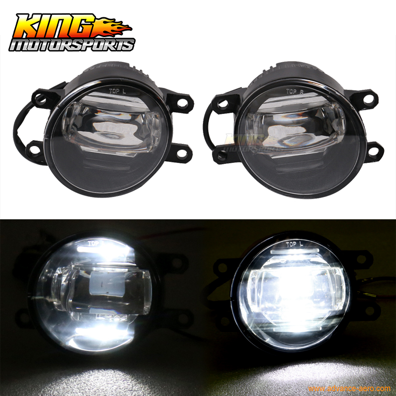 ФОТО For Toyota Front LED Fog Lamp Foglight Pair LH RH Black Housing Clear Lens