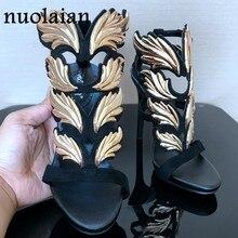 1c5ac5653a Platform Shoes Womens Pumps Leaf Flame Gladiator Sandal Shoes Party Dress  Woman Patent Leather High heel Heels Women Sandals