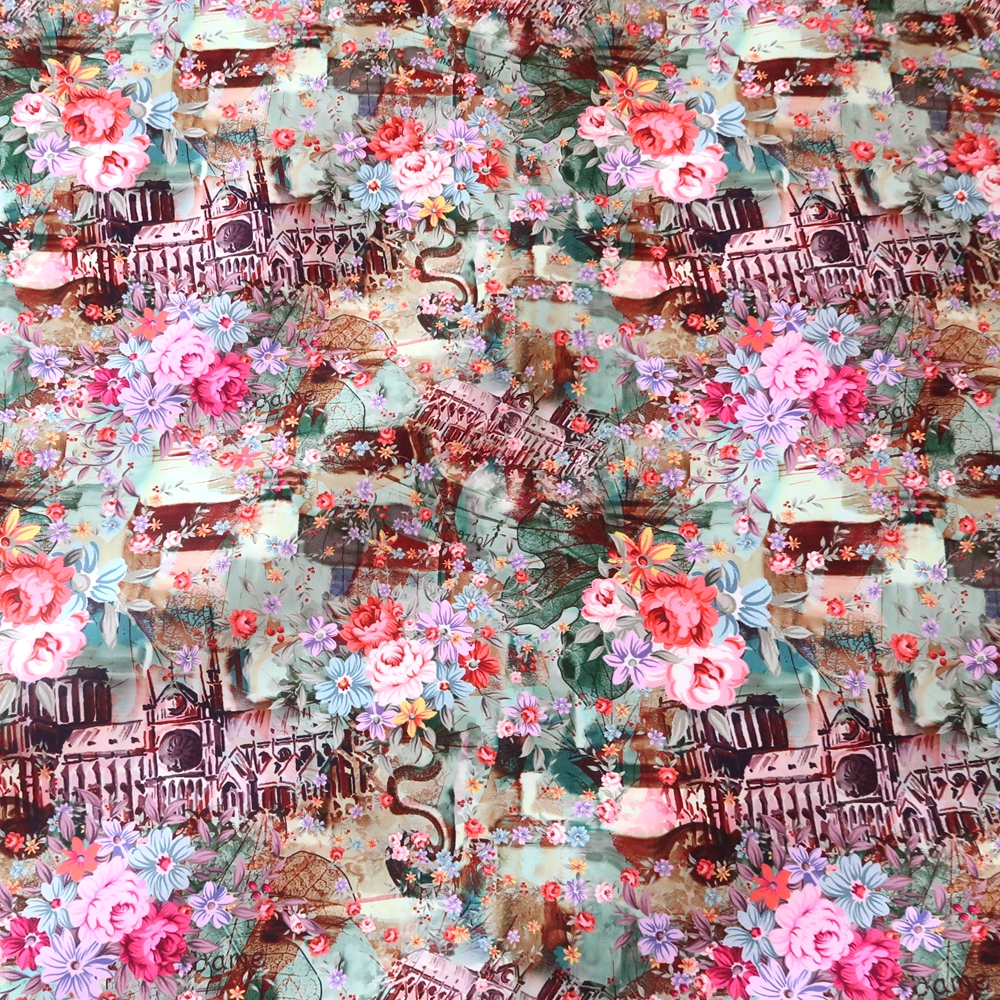 1 Yard Retro Peach Skin Fabric Paris Spring Collage