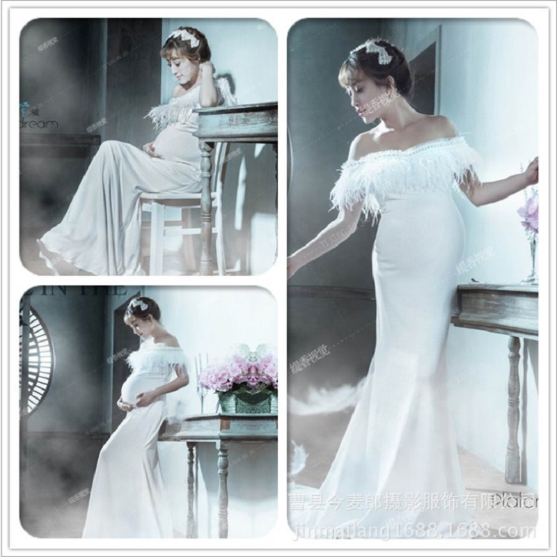 Maternity White Lace Royal Photography Props Dresses Pregnancy Fancy ...