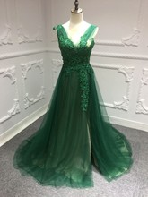 0e43b3466082 SSYFashion Nuovo Banchetto Elegante Verde Abito Da Sera Scoop Sweep Treno Del  Merletto Applqiues Che Borda