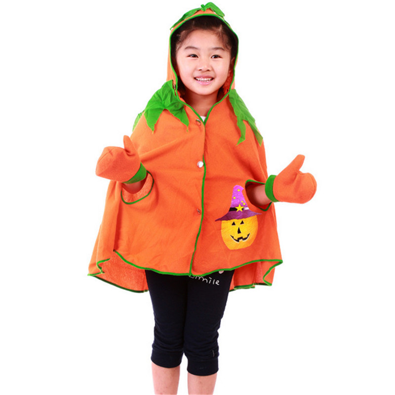 2018 high quality Halloween Children Pumpkin cloak with  Halloween costume girl cute holiday costume ball performance clothes