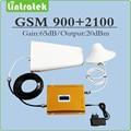 Doble banda Repetidor de Señal EDGE/HSPA UMTS 2100 MHz GSM 900 MHz WCDMA Amplificador de Señal Móvil con LPDA/techo de la Antena y el Cable