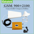 Dual band Signal Repeater EDGE/HSPA GSM 900MHz UMTS 2100MHz WCDMA Mobile Signal Booster with LPDA/Ceiling Antenna and Cable