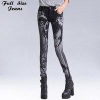 Sexy Slim Floral Print Black Painted Pattern Skinny Jeans Elastic Women Rhinestones Low Waist Denim Pencil