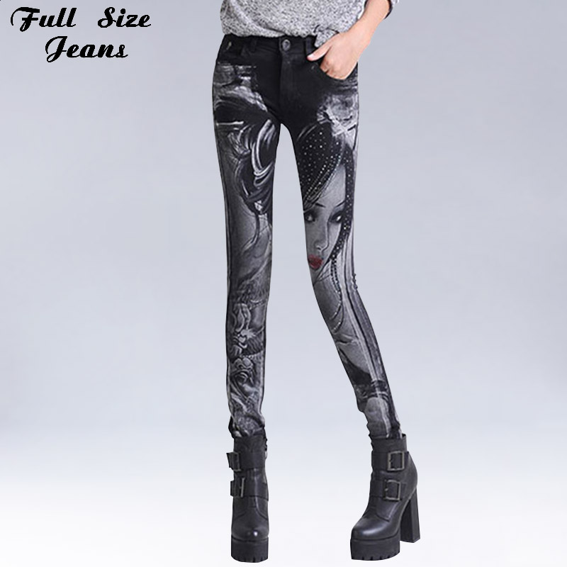 Sexy Slim Floral Print Black Color Painting Pattern Skinny Jeans Elastic Women Rhinestones Low Waist Denim Pencil Pants