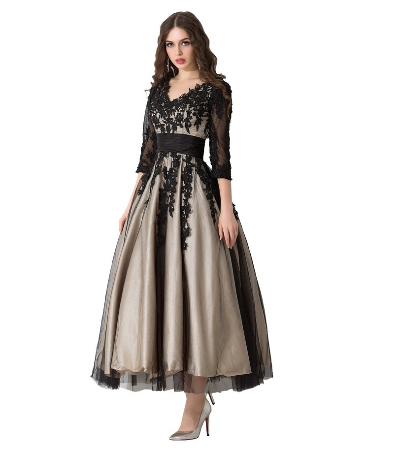 Vestidos tea length black long prom dresses 3 4 sleeves for 3 4 sleeve wedding guest dress