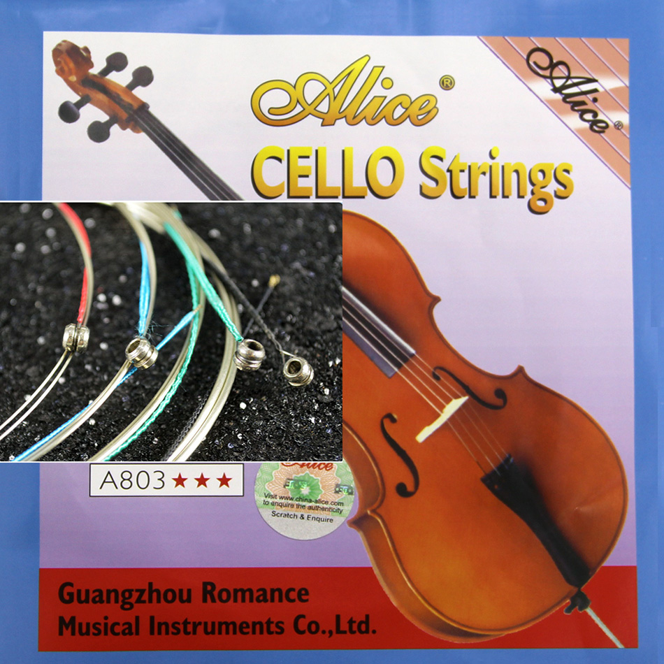Alice A803 Cello Strings Steel Core Nickel Silver Wound Nickel Plated Ball End Alloy Winding Suitable For 4/4 Cellos