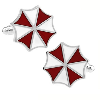 Red White Umbrella Cufflink Cuff Link 15 Pairs Wholesale Free Shipping