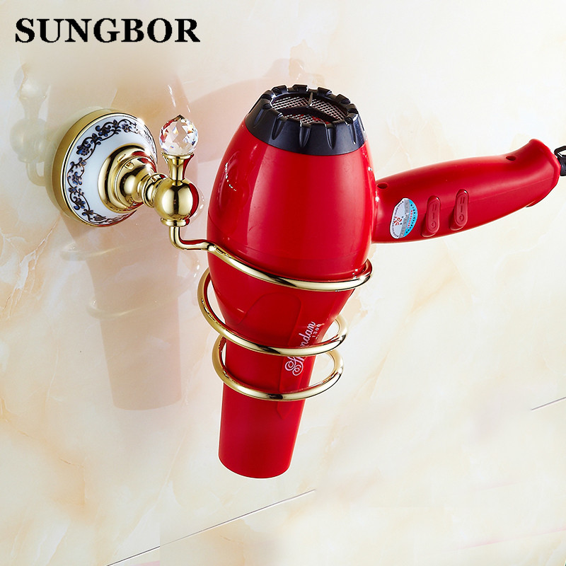 Wholesale and Retail chrome Crystal golden Brass Hair Dryer Rack Sold Brass Home / Hotel Hairdryer Holder shelf Free Shipping