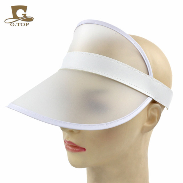 Summer Holiday Sun Hat Sun Visor Sunvisor Party Casual Unisex Hat Spring Autumn Red Green Clear Plastic Solid Adult Cap wholesal 3
