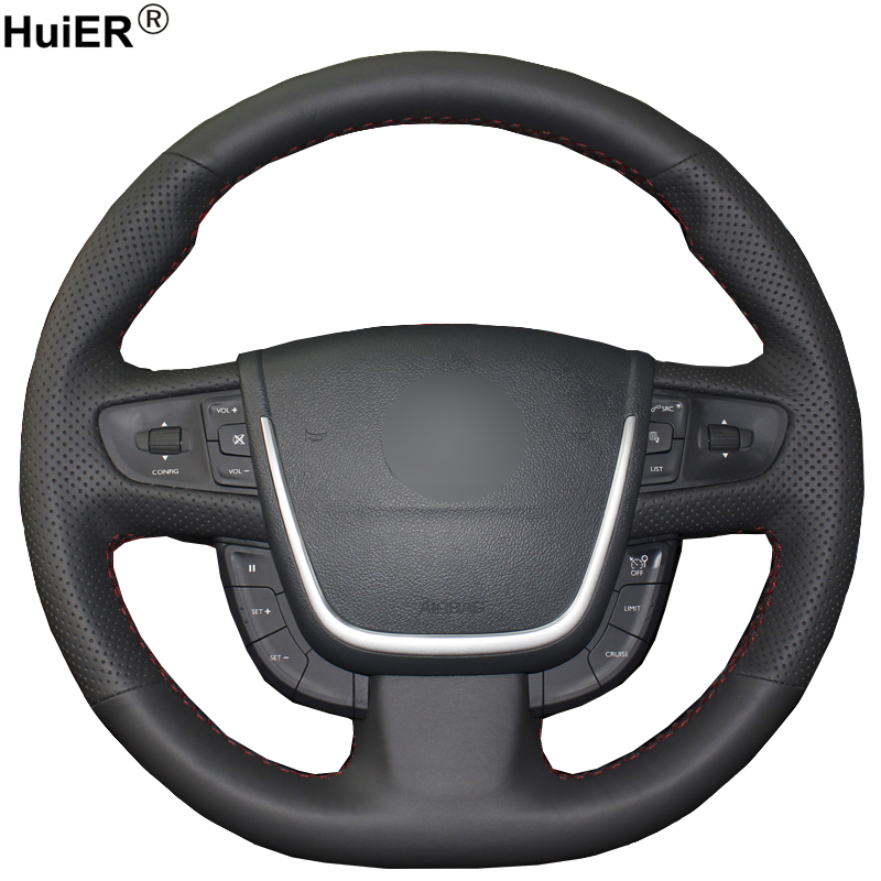HuiER Hand Sew Car Steering Wheel Cover Wear-resistant Car Styling Black Leather For Peugeot 508 Steering-wheel Auto Accessorie