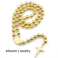 Promotion Fashion Gold Rosary Necklace Wholesale Stainless Steel Cross Beads Rosary Necklace Women Men Jewelry KRN77