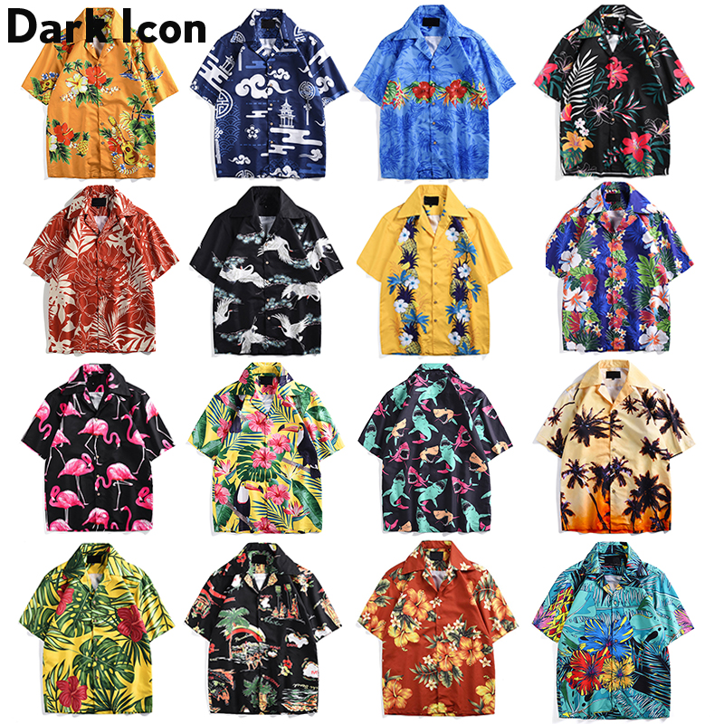 Dark Icon Colorful Hawaiian Shirt Men Short Sleeve 2019 Summer Loose Shirt Men Oversized Shirts For Man Men's Top Trend