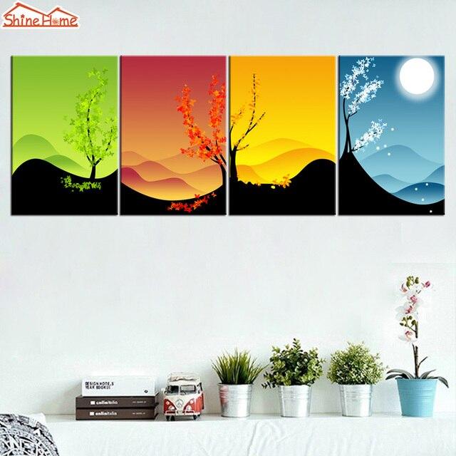 Shinehome 4pcs Wall Art Canvas Prints Chinese Style Four Seasons
