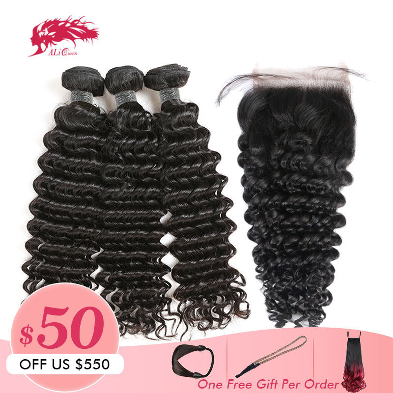 Ali Queen Hair Products 3Pcs Peruvian Deep Wave Hair Bundle With Swiss Lace Closure Free Part