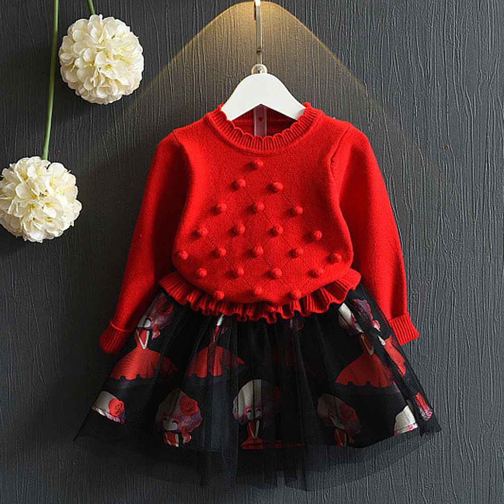 2017 New Autumn Dresses For Girls Knitting O-neck Long Sleeved Causal Fashion Children Clothes Hot Sale Lace Princess Dress little maven brand new girls autumn spring long sleeved o neck fashion rabbits printed cotton cute casual dresses