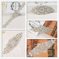 (5pieces) Wholesale Handmade Iron On Hotfix Sliver Clear Sew On Rhinestone Applique for Wedding Dresses Garments Bridal Belts