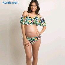 Купальник для беременных, купальник для беременных с рюшами, с открытыми плечами, плюс размер, купальный костюм, танкини, принт для беременных женщин