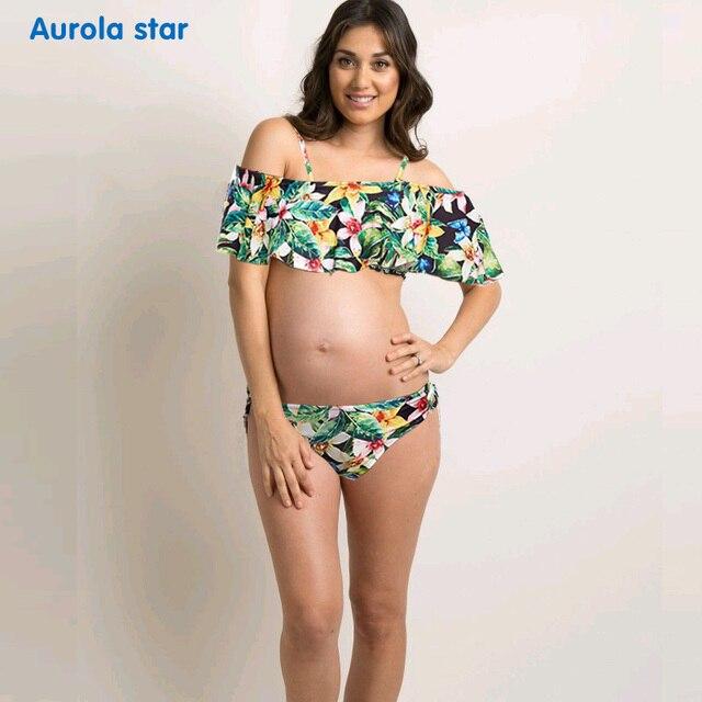 f52f2bfc4 Maternidad traje de baño embarazada embarazadas Ruffle Off hombro más  tamaño Tankinis impresión mujeres embarazadas