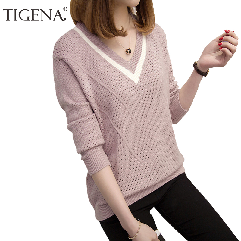 TIGENA 2019 Autumn Winter Sweater Women Jumper Hollow Out V-neck Loose Knitted Pullover Sweater Female Pull Femme Pink Khaki