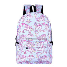 water proof bag student unicorn backpacks for girls oxford shoulder bag women backbag mochila de unicornio escolar rugzak dames(China)