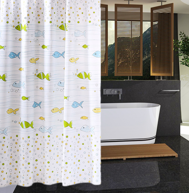 RUBIHOME Shower Curtain For Bathroom PEVA Thicken Waterproof Decor Sea Blue Green Yellow Orange Fish Bubbles Waves With Hooks