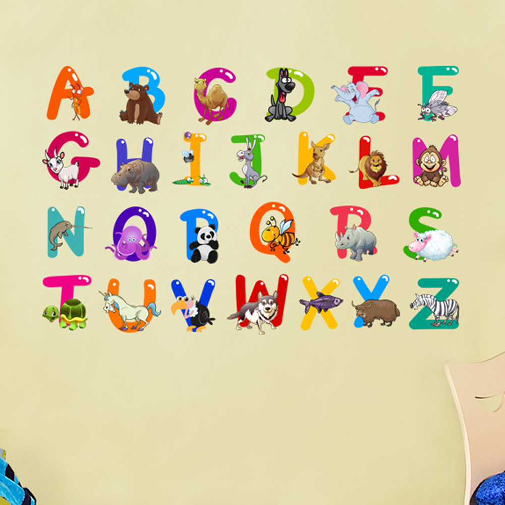 A z Alphabet&animals Letters English Vinyl Mural Wall Stickers ...
