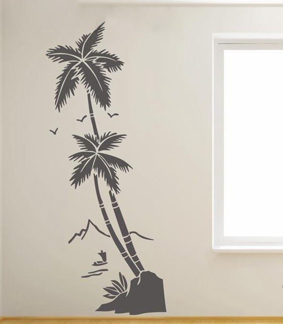Beach Art Wall Stickers For Wall Decoration , Waterproof Vinyl Wall Decals Coconut Palm For Bathroom / Living Room Wall Decals