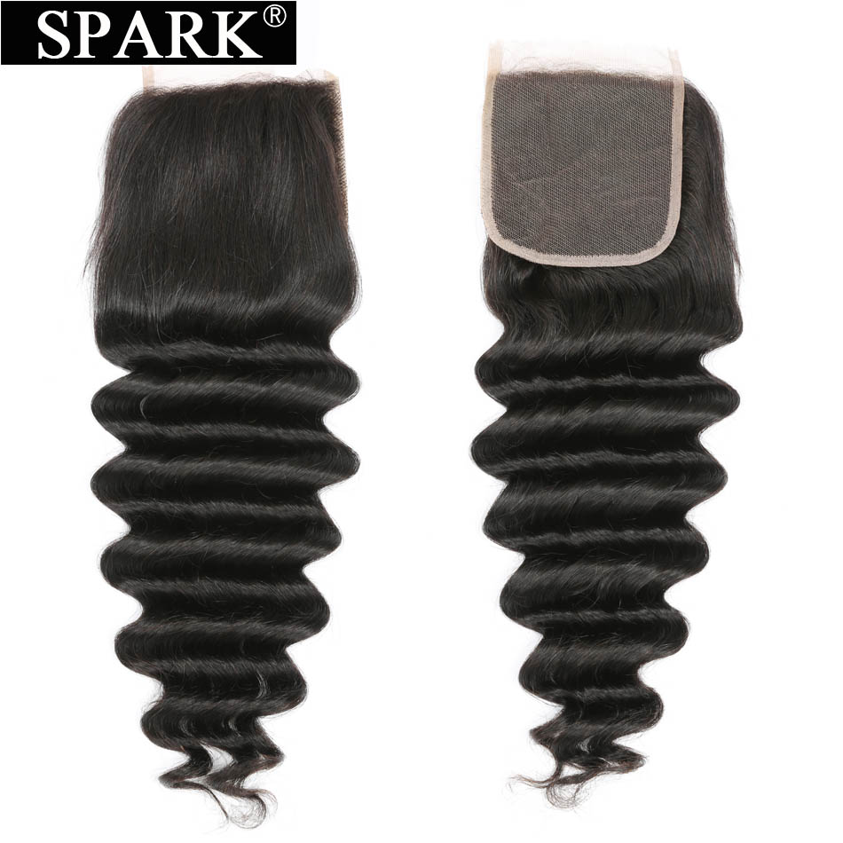 Spark Brazilian Loose Deep Lace Closure 4x4 Free/Middle/Free Part Medium Brown Closures 100% Remy Human Hair Swiss Lace Closure