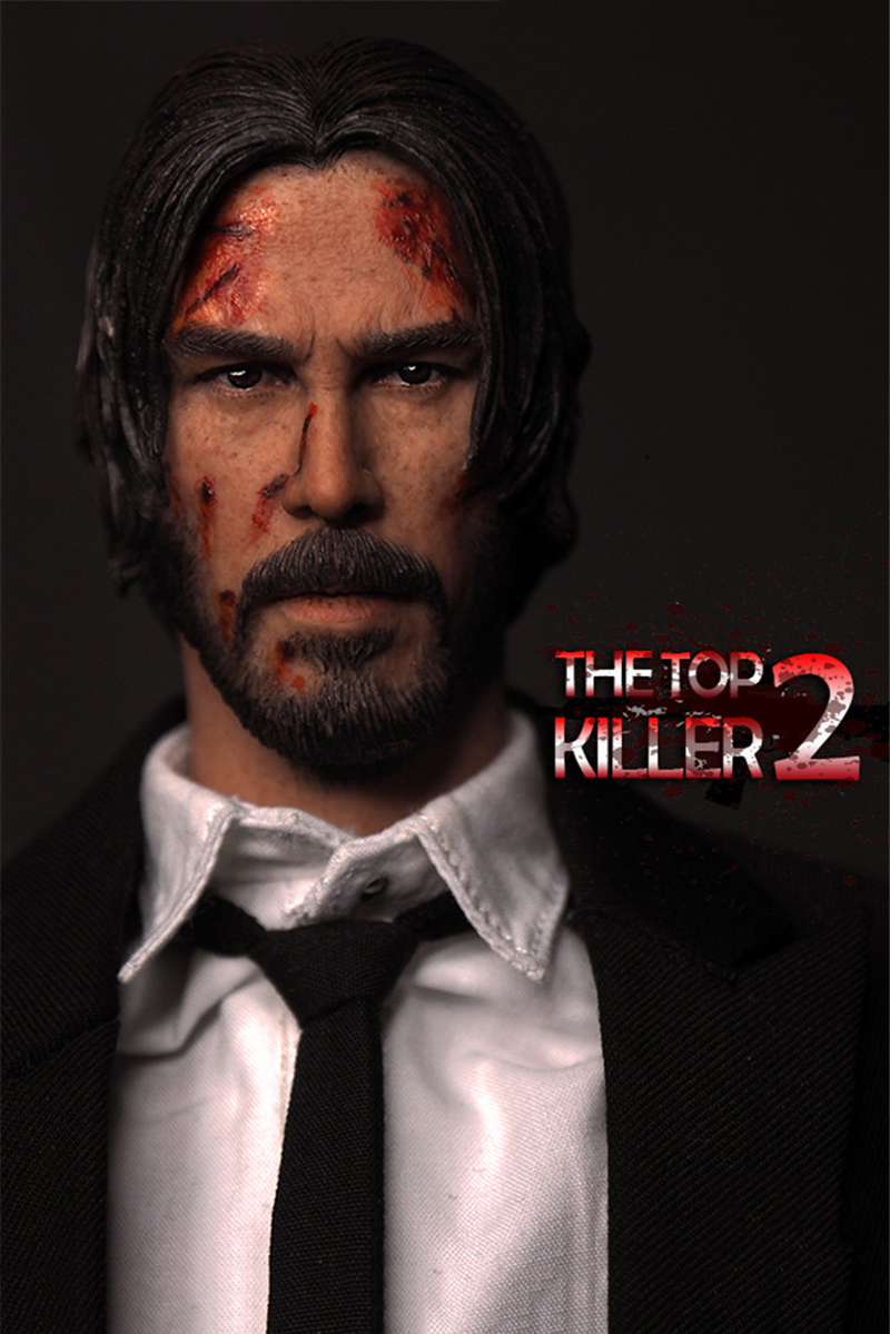 1/6 Scale The Top Killer II Keanu Reeves Head Sculpt for 12 Inches Male Figures Bodies Dolls  Gifts Toys Collections 1 6 scale wolverine 3 hugh logan head sculpt clone version with short hair for 12 inches male bodies dolls figures gifts toy