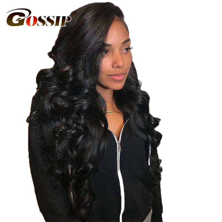 Gossip Glueless Lace Front Human Hair Wigs For Black Women Brazilian Body Wave Non Remy Wigs With Baby Hair Pre Plucked Hairline