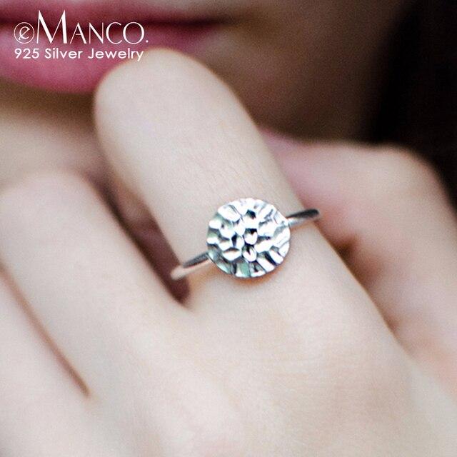 E-Manco 925 Anéis de Prata Anéis de Noivado Fine Jewelry Vintage Geométrica Minimalista Rodada Forma Mulheres Jóias Preço de Atacado