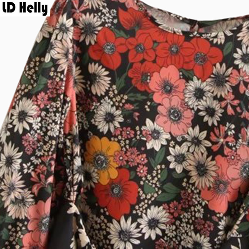 LD Helly Spring New Women Sweet Floral Print Blouses Sashes Design O-Neck Long Sleeve Streetwear Shirt Tops Female Blusas Mujer