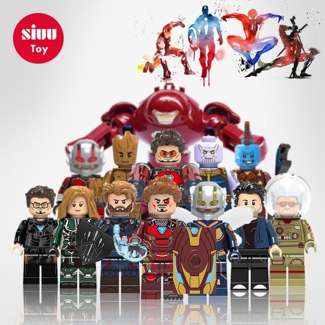 Legoingly Maravilhas Figuras Vingadores Capitão América Homem-Formiga Spiderman Ironman Blocos de Construção de Mini Tijolos Brinquedos Para Crianças Presente