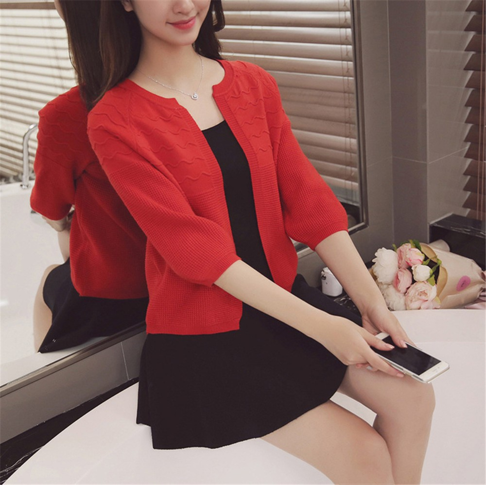2016 Spring&Autumn Casual Sweater Women Cardigan Sweater Solid Color Open Stitch Women\'s Cotton Knitted Outerwear Sweater (9)