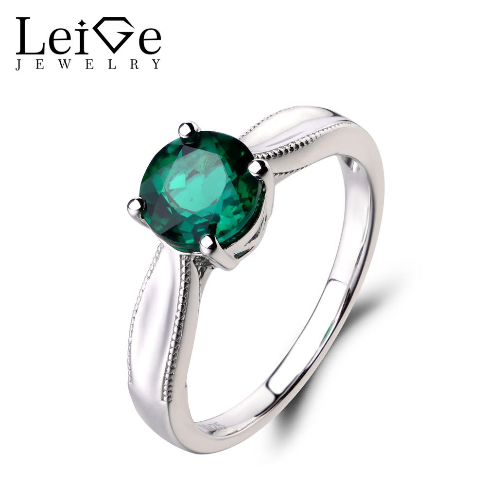 Leige Jewelry Engagement Ring Lab Emerald Ring Green Gemstone Round Cut 925 Sterling Silver Ring May Birthstone Solitaire Ring цена