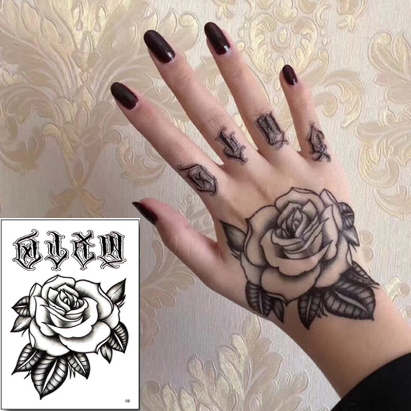 10pcs/pack Temporary Tattoo Sticker Set Hand Rose Tattoo Black Flower Mehndi Stickers For Hand Zombie Tattoos Men Boys Wholesale