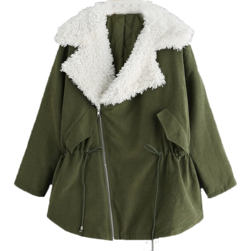 Winter Women Warm Fleece Lined Short Jacket Elegant Windbreaker Windproof Coat Flannel Zipper Slim Outerwear Parka Plus Size 5XL
