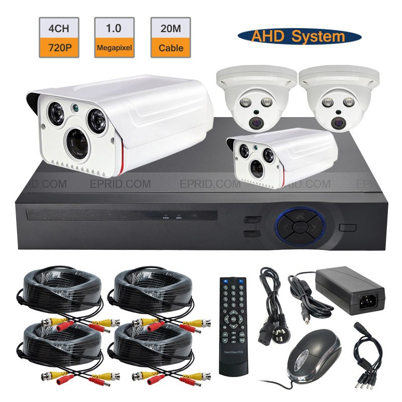 CCTV AHD DVR System 4ch Surveillance 720p 1 0MP 2PCS Array IR Indoor Outdoor Kit