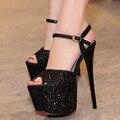2016 Nova Plataforma de Moda Sandálias de Strass Casamento Sapatos de Salto Alto Lindo Cristal Cerimônia de Casamento Bombas de Sapatos de Festa de Formatura