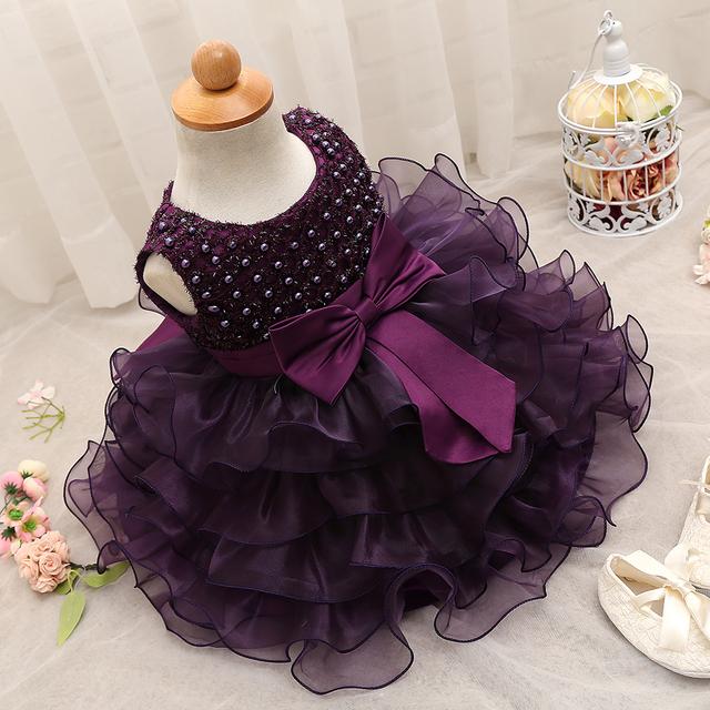 Cute girl party dress de 1 años niña infantil Vestido de cumpleaños Muchacha Del Niño Traje de Bautizo Del Bebé Vestidos Púrpuras De Las bautismo