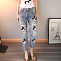 Mickey Mouse Jeans Women Distressed Ripped Boyfriend Jeans woman Cartoon Mickey Jeans Destroyed Casual Harem Denim Pants New