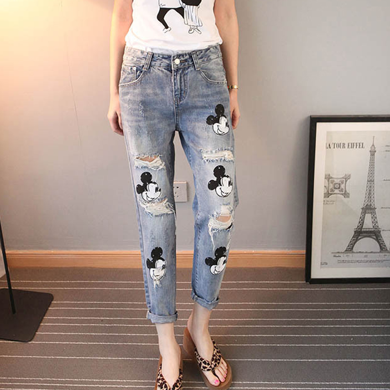 Print Mikey Mouse   Jeans   Girls Vintage Baggy Distressed Ripped Boyfriend   Jeans   For Women Cartoon Mickey   Jeans   Casual Harem Pants