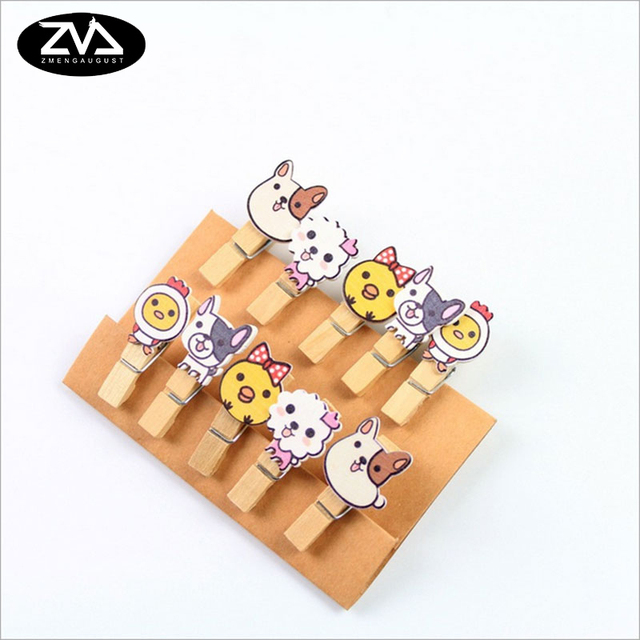 10Pcs/lots Kawaii dog Wooden Clip Photo Paper Postcard Craft DIY decoration Clips Office Binding Supplies Stationery