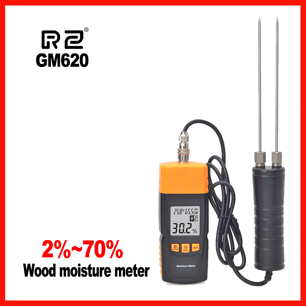 Wood Moisture Meter High Precision Adjustable for 4 tree species temperature Grain RZ GM620 computer moisture meter lds 1g grain moisture meter high precision with capacity