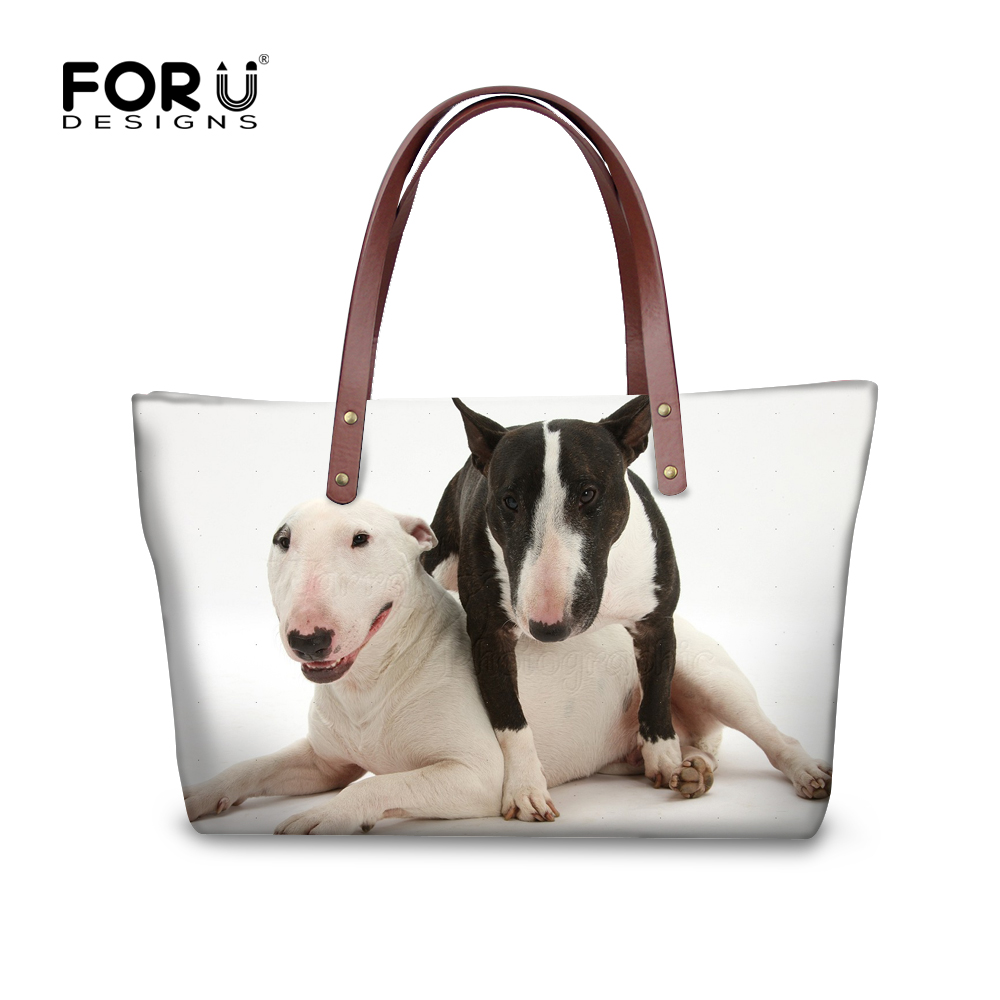 FORUDESIGNS Bull Terrier Dog Printing Handbags Women Bag Bolsa Feminina Sac a Main Bolsos Tote Girls Ladies Shoulder Bag Baobao forudesigns casual women handbags peacock feather printed shopping bag large capacity ladies handbags vintage bolsa feminina page 6