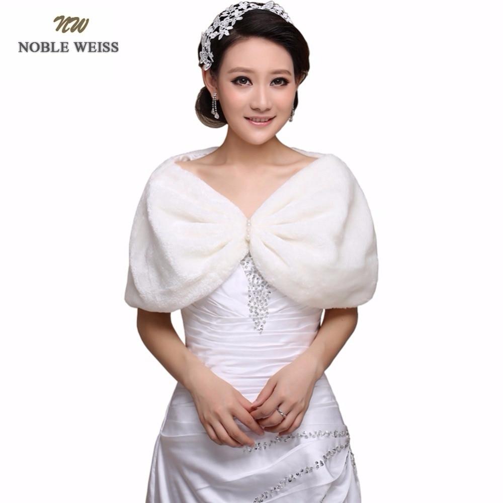 NOBLE WEISS Fur Boleros- Beading Wedding Bridal Bride Wrap Shawl Cape Faux Fur  (picture Color,shoulder And Shoulder 38-42 Cm)