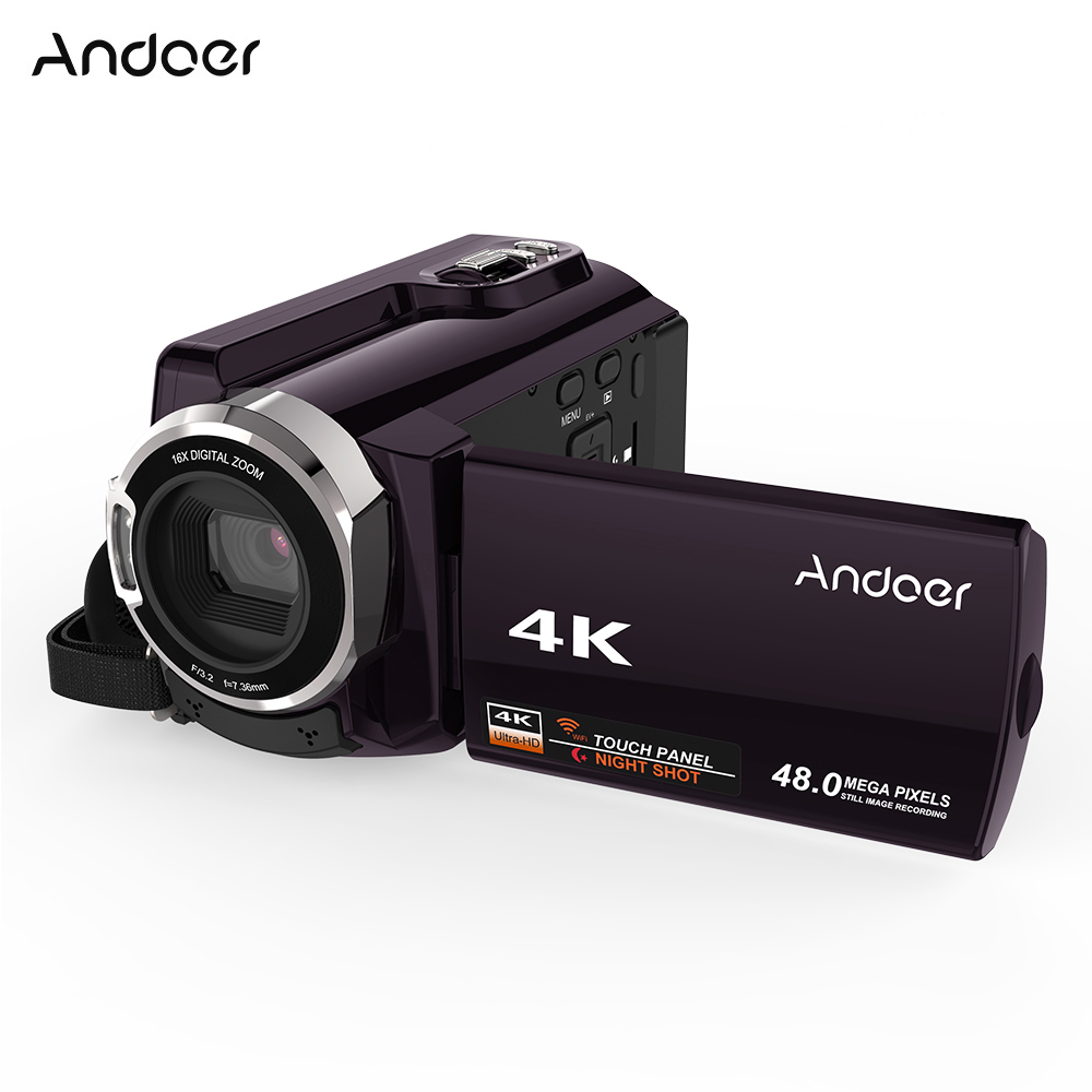 "Andoer HDV-534K 4K 48MP WiFi Digital Video Camera 1080P Full HD Novatek 96660 Chip 3"" Touch IR Infrared Night Sight Video Camera"