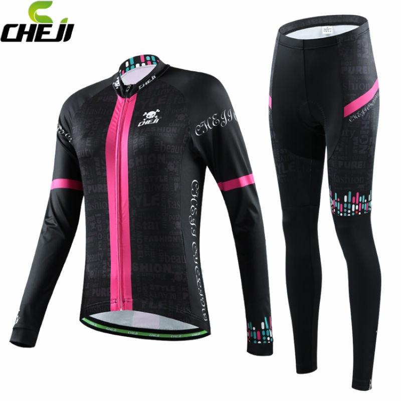 ФОТО CHEJI Cycling Jersey Winter Ropa ciclismo Women MTB Cycling Jerseys Long Sleeves Bike Bicycle Shirts Padded Cycling Set S-XXL